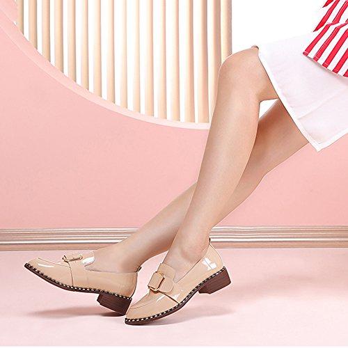 HAIPENG Stivaletti Metà Tacco Autunno Tempo Libero Testa Rotonda Grezzo Con Da Donna 2 Colori ( Colore : Nero , dimensioni : EU37/UK4.5/L:235mm ) Pink beige