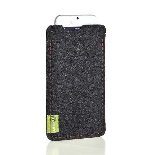"""Almwild Hülle Tasche für Apple iPhone 8, 7, 6 MIT Apple Leder Case/Silikon Case. Modell """"Dezenzi"""" in Schiefer- Grau,Schwarz aus Natur-Filz. Handyhülle Handytasche in Bayern handgefertigt"""