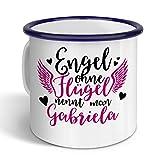 printplanet - Emaille-Tasse mit Namen Gabriela - Metallbecher mit Design Engel - Nostalgie-Becher, Camping-Tasse, Blechtasse, Farbe Blau, 400ml