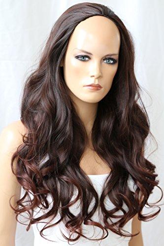 PRETTYSHOP Halbperücke Wig Perücke gewellt ca 65cm diverse Farben (dunkelbraun schoko Farbton 2T33)