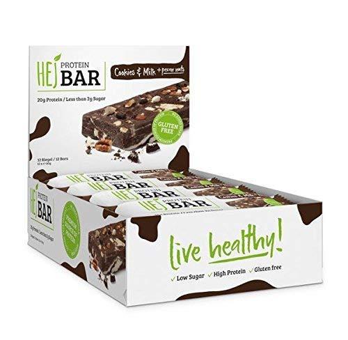 HEJ Protein Bar – Protein Riegel Low Carb - Eiweißriegel ohne Zuckerzusatz – Fitness Riegel Protein - Geschmack Cookies & Milk - 12er Pack (12 x 60g)