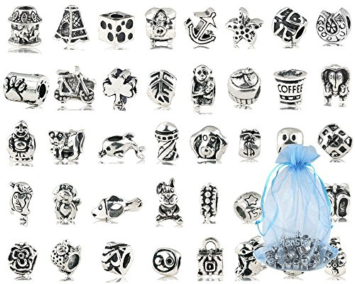 Xiton Paquete DE 40 PC (Aprox.) Perlas del Metal Plateado Plata Antigua...