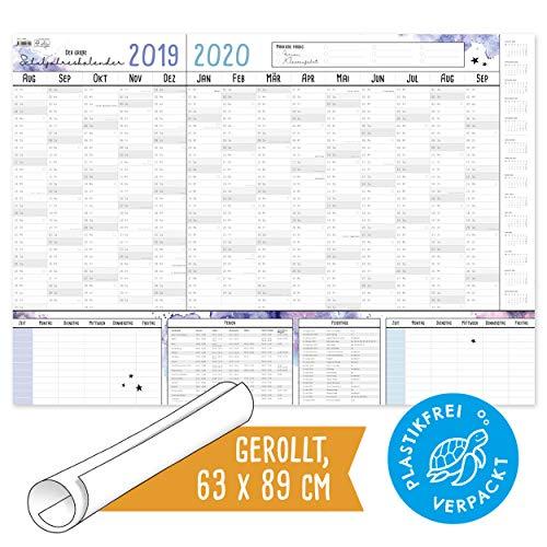 2019/2020, PLASTIKFREI, schönes Design, Kalender Schuljahr 19/20, XXL gr. als DIN A1, mit 2x Stundenplan, Schulferien und Feiertagen, Wandplaner ()