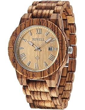 Alienwork Quarz Armbanduhr massive Naturholz Uhr Herren Uhren handgefertigt Zebraholz Holz orange braun UM109B-02