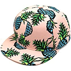Lenfesh Gorra de Beisbol, Unisex Gorra de Béisbol Ajustable de Impresión Piña, Sombrero Ajustable de Hip Hop (Rosado)