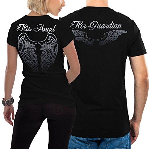 VIVAMAKE - Angel Tshirt - Partner-T-Shirt - 2 Stück - Couple-Shirt Geschenk Set für Verliebte - Partner-Geschenke - Bestes Geburtstagsgeschenk - Partnerlook - Schwarz - Damen L - Herren L