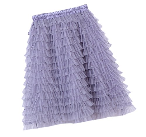 Honeystore Damen's Vintage Petticoat Unterrock Reifrock für Hochzeit Brautkleid Retro Prinzessin Tutu Rock Tüllrock Faltenrock One Size Grau (Karo-rock Schuluniform Im)