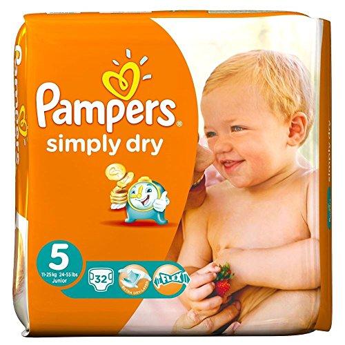 Preisvergleich Produktbild Pampers Simply Dry Größe 5 Junior 11-25kg (32) - Packung mit 2