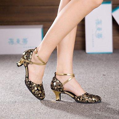 XIAMUO Nicht anpassbare Damen Tanzschuhe Latein Leder Cuban Heel Schwarz/Rosa/Gold Schwarz