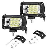 2 X 72W Focos de Coche LED Potentes, 12V-24V LED luces de trabajo IP67 Impermeable de Faros Adicionales Blanco Frío Para off-road, Tractor, Camión, Moto