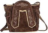 Oktoberfest-Kleidung Trachten-Handtasche aus Echtleder, Dirndltasche, 15cm, Typ 1, dunkelbraun