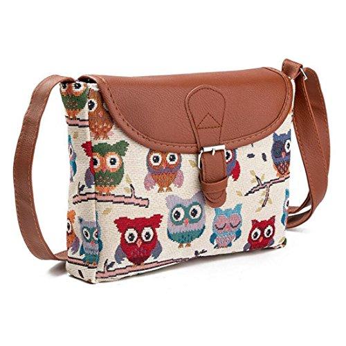 GWELL Damen Eule Bedruckt Handtasche Tribal Umhängetasche Shopper Tasche Schultertasche Muster-A