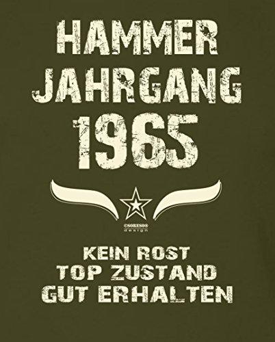 Modisches 52. Jahre Fun T-Shirt zum Männer-Geburtstag Hammer Jahrgang 1965 Ideale Geschenkidee zum Jubeltag Farbe: khaki Khaki