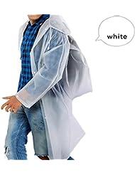 WXLQ Adulto impermeable al aire libre trekking viaje poncho transparente xl white