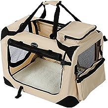 Songmics 60 x 40 x 40 cm Bolsa de transporte para mascotas Transportín plegable para perro Portador Tela Oxford beige PDC60W