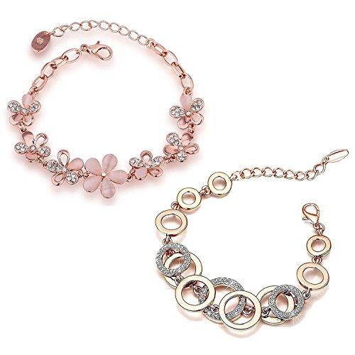Shining Diva Fashion Jewellery Combo 18k Rose Gold Plated Crystal Gifts Stylish...
