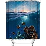 Hermoso en vivo * Diseño especial 3D cortina de baño de cortinas de baño cortina de ducha con 12 anillos de cortina contra el moho resistente al agua 180 * 200cm (Submarino)