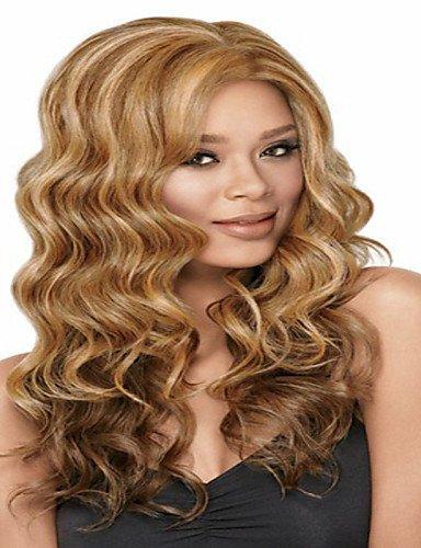Perruque & xzl Perruques Fashion Blond Couleur européenne et les femmes américaines mode des chapeaux de longs cheveux bouclés