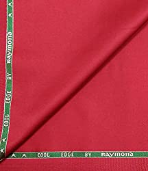 Raymond Super Fine Cotton Fabric With Stretch Red Unstitched Suit Length - 3 metres