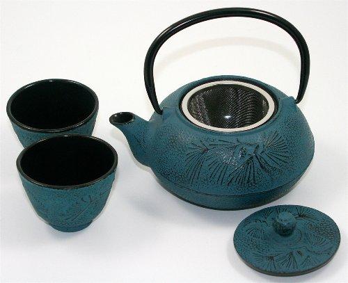 Set teiera cinese con tazze, realizzata a mano, in ghisa di colore blu, (600 ml), (Cina Tazze Set)