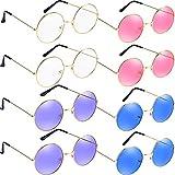 Bememo 8 Paare Hippie Sonnenbrillen Runde Retro Sonnenbrillen Mode John 60's Stil Kreis Brillen, Mehrfarbig