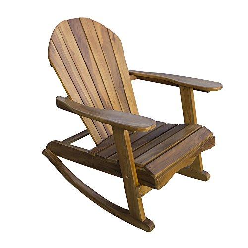 Chaise de Jardin à Bascule Adirondack en Bois - Fauteuil en Teck Massif Résistant aux Intempéries avec Balancement en Douceur - Mobilier de Jardin, Patio et Terrasse aux Tons Dorés Étourdissants