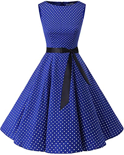 bbonlinedress 50s Retro Schwingen Vintage Rockabilly Kleid Cocktail Faltenrock Royalblue White Dot M