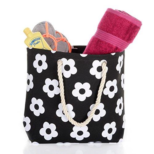Frauen Umhängetasche für den Strand aus Leinen Sommer Urlaub Stoffbeutel Shopping Wiederverwendbar Handtasche Blume / Schwarz