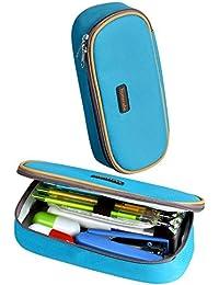 Trousse, Homecube Sac à Stylos Trousse à Crayons Plumier Trousse Scolaire Solide Durable Zipper pour Etudiant Garçon Fille (Bleu)