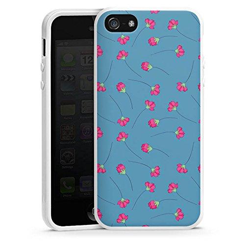 Apple iPhone 4 Housse Étui Silicone Coque Protection Fleurs Fleurs Bleu Housse en silicone blanc