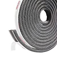 Fowong Self Adhesive Brush Seal Sealing Strip 4.9 m (L) x0.9 cm (W) x0.9 cm (H) Draught Excluder High Density Felt Draught Eccentric for Sliding Doors, Windows and Wardrobe Seal Brush (Grey), Grey