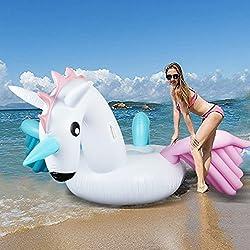 Hanmun Flotador inflable de la piscina del unicornio 2019 Verano Nuevo diseño Material seguro Anillo de natación clásico para adultos Mujeres Niños Pequeños (Unicornio gigante)