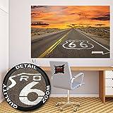 Poster Route 66 Wandbild Dekoration Amerika Highway Chicago Kalifornien Reisen Urlaub Sonnenuntergang Wüste USA Deko | Wandposter Fotoposter Wanddeko Bild Wandgestaltung by GREAT ART (140 x 100 cm)