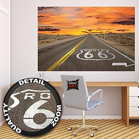 affiche de la Route 66 décoration murale de l'autoroute d'Amérique vacances à Chicago Voyage en Californie coucher de soleil du désert des États-Unis | Poster mural Image by GREAT ART (140 x 100