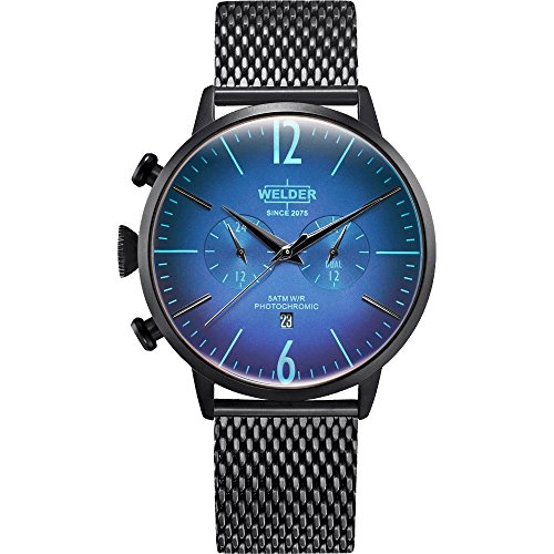 Welder Moody WWRC401 - Mens watch in steel with IP blue finish, with chrono and calendar. Strap type mesh.