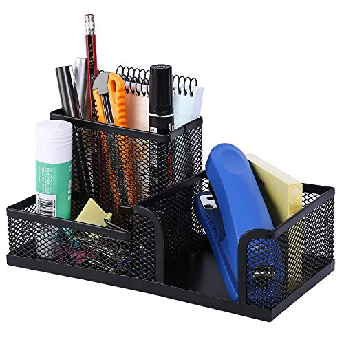 SEPAL Metal Mesh 3 Compartments Desk Organizer Pen Pencil Holder Stand Memo Holder Stationery Storage Organiser for Office Home Black