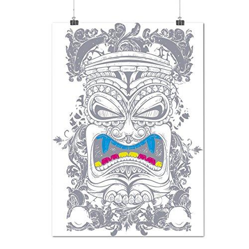 Maori Krieger Kopf Neu Guinea Mattes/Glänzende Plakat A3 (42cm x 30cm) | (Kostüme Maori)