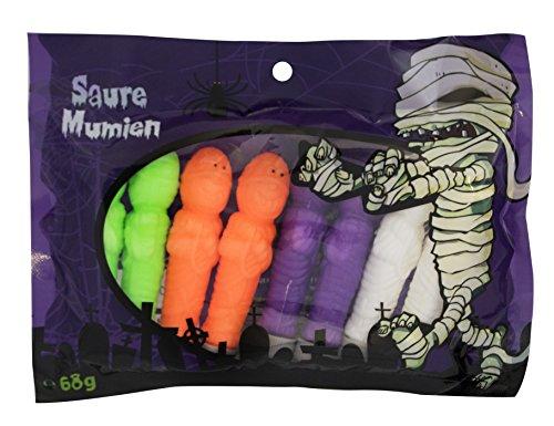 Halloween Saure Mumien 68g, Fruchtgummi als Dekoration oder Leckerei für gruselige Halloween-Partys
