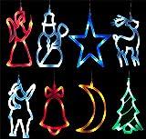 LED´s Leuchtende Weihnachtsanhänger Fensterbild Fensterdeko Weihnachts 8x LED Deko vers. Motive (Schneemann)