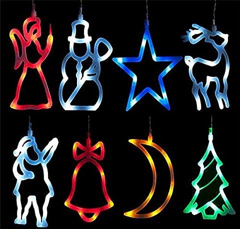 LED´s Leuchtende Weihnachtsanhänger Fensterbild Fensterdeko Weihnachts 8x LED Deko vers. Motive