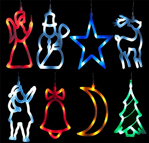 LED´s Leuchtende Weihnachtsanhänger Fensterbild Fensterdeko Weihnachts 8x LED Deko vers. Motive (Mond)