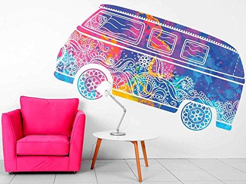 Vinilo decorativo pared Espiritual Furgoneta Hippie Colores | Varias Medidas 155x81cm | Multicolor | Pegatina Adhesiva Decorativa de Diseño Elegante