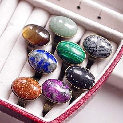 Bague ovale simple pierre véritable ajustable réglable - anneau couleur bronze antique - cabochon gemme pierres fines - choix lapis lazuli ou pierre de soleil