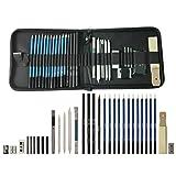 LumsBright 33pcs Crayons de Dessin, Croquis Kit de Dessin avec Sac Inclus Gomme Crayon de Charbon Graphite Outils pour Dessiner