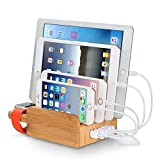 Merit 3 in 1 Multischnittstelle USB Bambus Ladestation Universell Ladegerät plus Kabel Organizer...