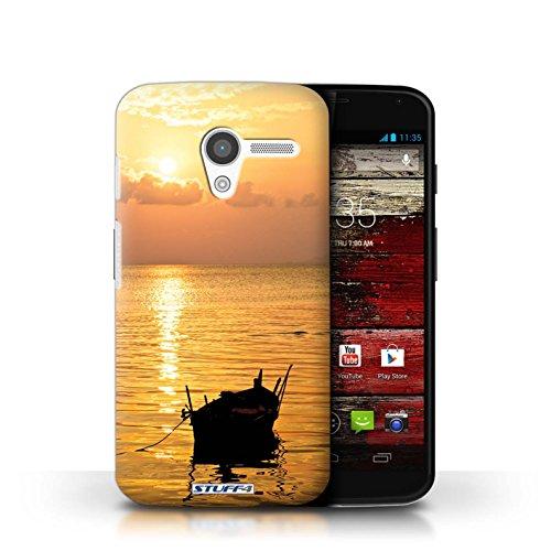 Kobalt® Imprimé Etui / Coque pour Motorola MOTO X / palmiers conception / Série Coucher du Soleil Bateau de pêche