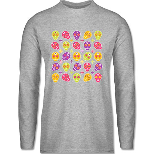 Shirtracer Rockabilly - Candy Skull - Herren Langarmshirt Grau Meliert