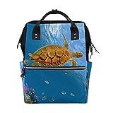 bennigiry Colorful Coral Reef Meer Schildkröte Fisch Wickeltasche Rucksack groß Kapazität Reise Back Pack Wickeltaschen Organizer Multifunktions-Baby Staubbeutel für Mama