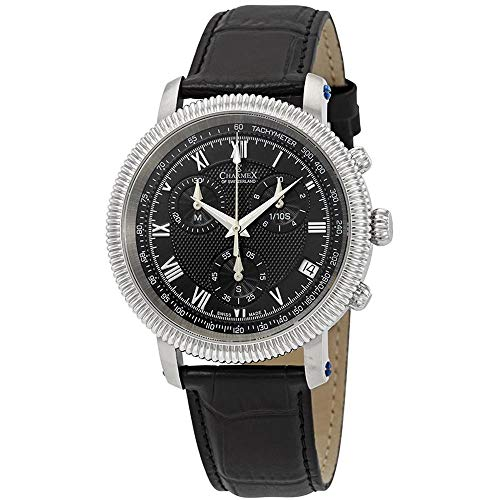 Charmex Men's President II 42mm Black Leather Band Quartz Analog Watch 2991