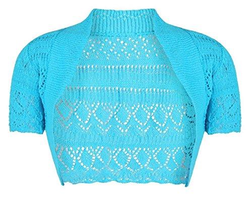 Filles Enfants Crochet à manches courtes en tricot Bolero Shrug âge 2-14 ans Turquoise